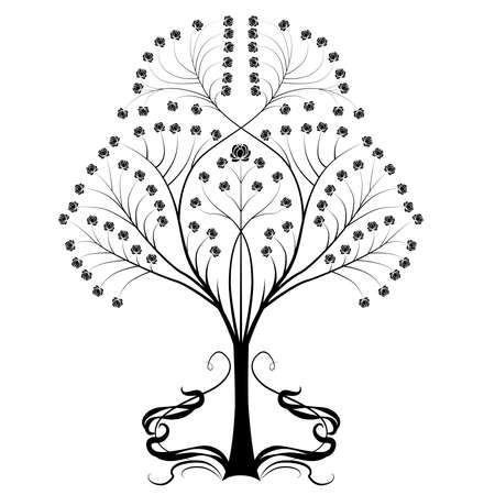 Tree with flourishes vector