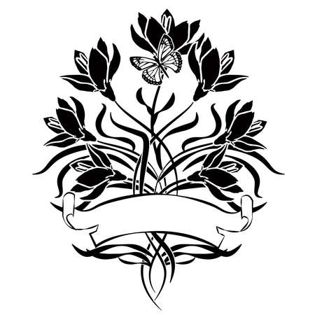 design element with flowers in black and white