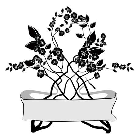 flowers in black and white design element