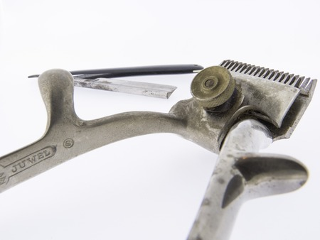 coif: old hair clippers, rustic scissors hairdressing tool with razor