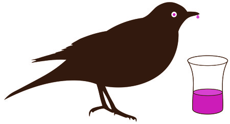 thrush: Blackbird drinking schnapps from a glass - Boozehound, boozer, Illustration