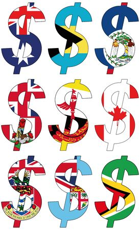 srd: dollars with various flags, currency, valuta, anchor currency Stock Photo