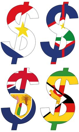dollars with various flags, currency, valuta, anchor currency Stock Photo