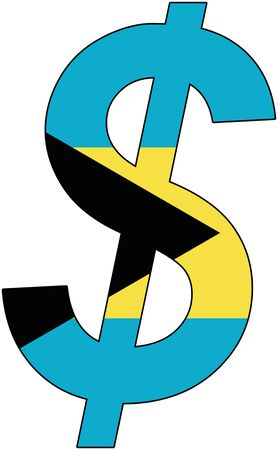 dollar with flag of Bahamas, currency, valuta, anchor currency