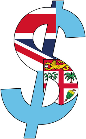 srd: dollar with flag of Fiji, currency, valuta, anchor currency Illustration
