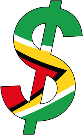 dollar with Flag of Guyana, currency, valuta, anchor currency