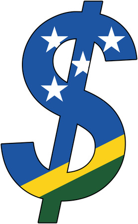 dollar with flag of Solomon Islands, currency, valuta, anchor currency Illustration