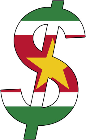 dollar with flag of Suriname, currency, valuta, anchor currency