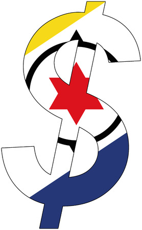 srd: dollar with flag of Bonaire, currency, valuta, anchor currency Illustration