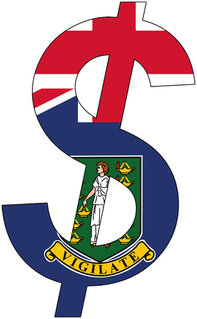 dollar with flag of British Virgin Islands, currency, valuta, anchor currency