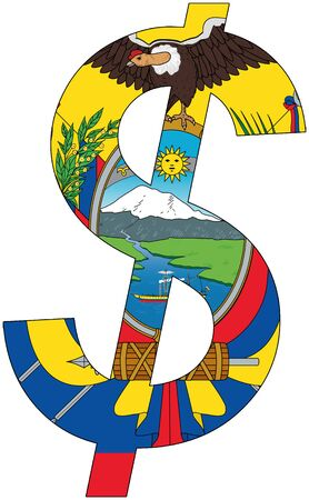 dollar with flag of Ecuador, currency, valuta, anchor currency