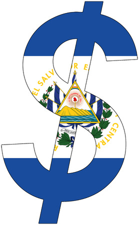 srd: dollar with flag of El Salvador, currency, valuta, anchor currency