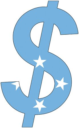 srd: dollar with flag of Federated States of Micronesia, currency, valuta, anchor currency Illustration