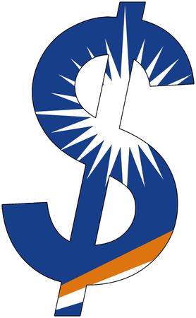 dollar with flag of Marshall Islands, currency, valuta, anchor currency Illusztráció