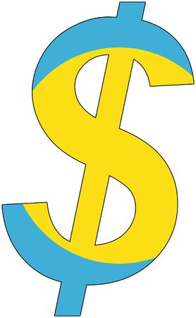 srd: dollar with flag of Palau, currency, valuta, anchor currency Illustration