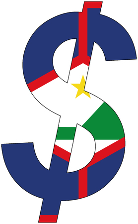 dollar with flag of St. Eustatius, currency, valuta, anchor currency Illustration