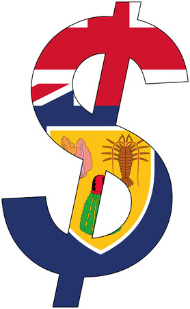 dollar with flag of Turks and Caicos Islands, currency, valuta, anchor currency Illustration