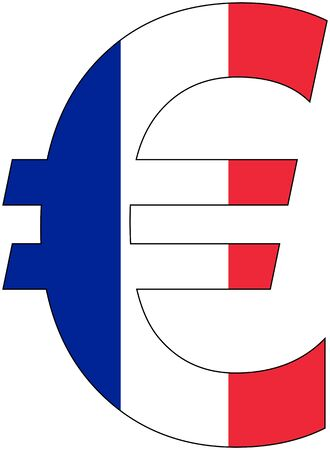Euro - with flag of france, currency, valuta, anchor currency Illustration