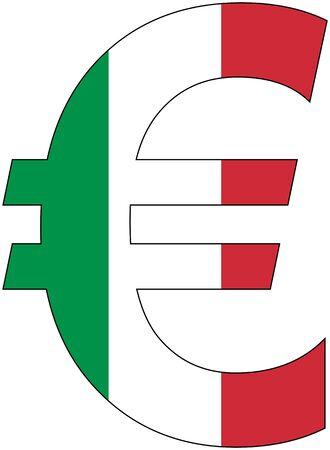ユーロ - イタリア、通貨、バルータ、基軸通貨の旗 写真素材 - 48655810
