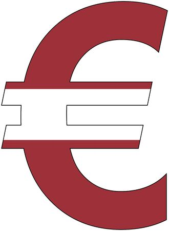valuta: Euro - with Flag of Latvia, currency, valuta, anchor currency Illustration