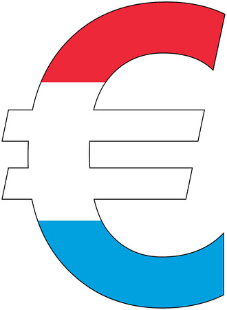 valuta: euro with flag of Luxembourg, currency, valuta, anchor currency