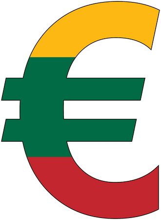 valuta: euro with flag of Lithuania, currency, valuta, anchor currency Illustration