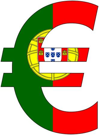 ポルトガル、通貨、バルータ、基軸通貨の旗が付いているユーロ 写真素材 - 48735285