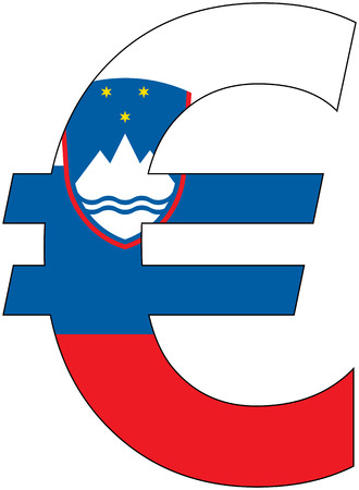 valuta: euro with flag of slovenia, currency, valuta, anchor currency Illustration