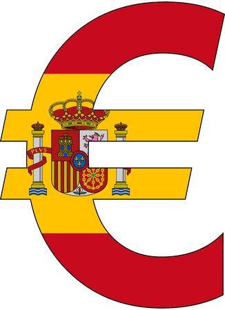 アンカー通貨サービス、通貨スペインの旗が付いているユーロ 写真素材 - 48735289