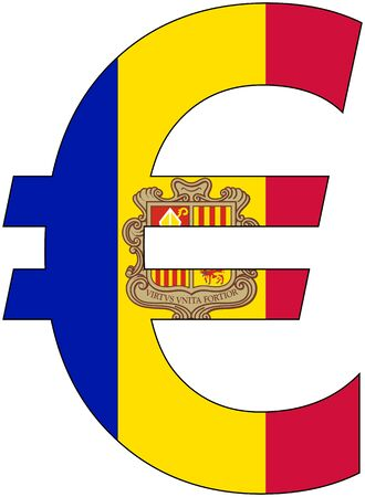 valuta: euro with flag of Andorra, currency, valuta, anchor currency Illustration
