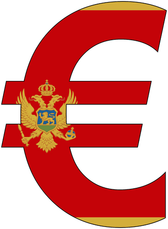 valuta: euro with flag of Montenegro, currency, valuta, anchor currency