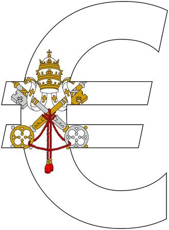 アンカー通貨サービス、通貨バチカン市国の旗が付いているユーロ 写真素材 - 48861118
