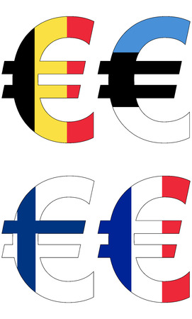 valuta: euro with various flags, currency, valuta, anchor currency