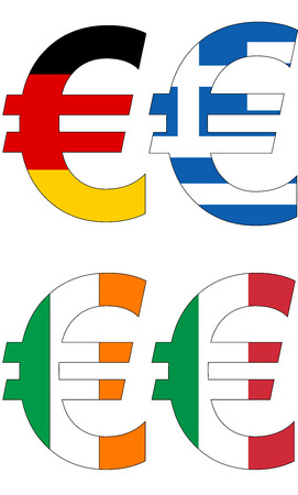 euro with various flags, currency, valuta, anchor currency