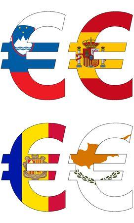 様々 なフラグ、通貨、バルータ、アンカー通貨ユーロ 写真素材 - 49038698