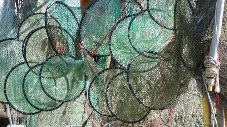 木製ラックに乾燥のトラップ ネットと魚釣り。 写真素材 - 53172482