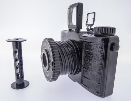 bakelite: analog camera with white background