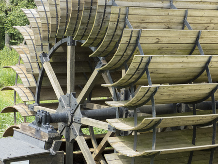 exceptionally: gristmill, sawmill - waterwheel, historic wooden wheel generation of energy Stock Photo