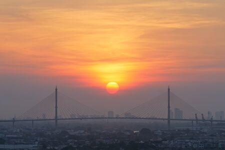 Beautiful sunrise at Bhumibol Bridge, Bangkok, Thailand