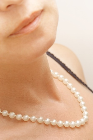 freshwater pearl: pearl necklace Stock Photo