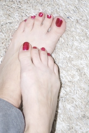 painted toes: womans foot Stock Photo