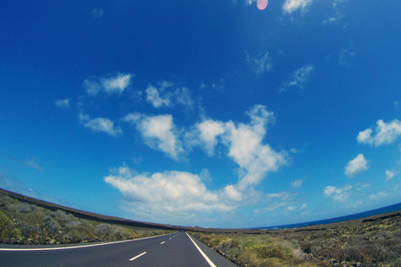 Road to nowhere  Lanzarote  Canary Islands Stock Photo