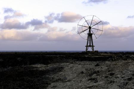 Traditional salt cultivation during sun set  Los Cocoteros  Guatiza  Lanzarote  Canary Islands