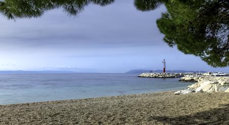 Beach and Adriatic Sea in Tucepi, Makarska Riviera, Croatia