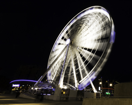 The Echo Wheel of Liverpool / Liverpool Eye by night - Keel Wharf waterfront of the River Mersey, Liverpool, United Kingdom