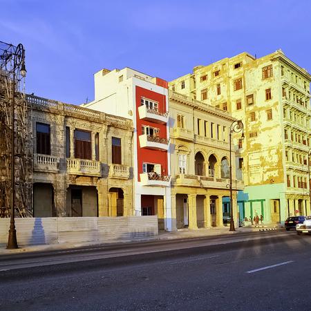 Street of Havana with old residential buildings - Malecon, Havana, Cuba Stock Photo