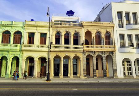 Street of Havana with old residential buildings - Malecon, Havana, Cuba