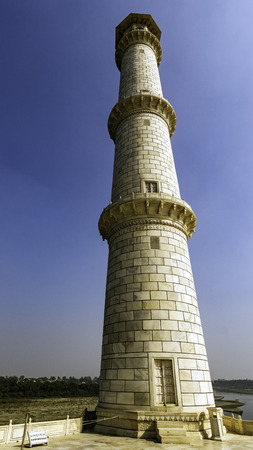 Tower of Taj Mahal in Agra, Uttar Pradesh, India Stock Photo