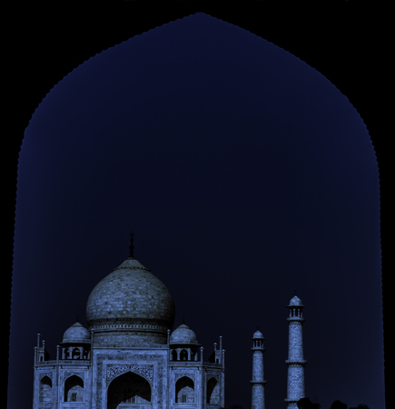 Taj Mahal by night in Agra, Uttar Pradesh, India