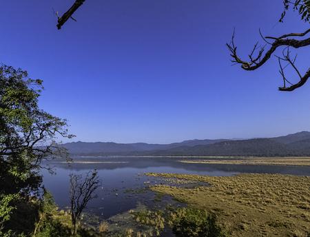 Panorama of Ramganga River in Jim Corbett National Park, India